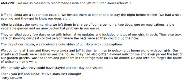 Testimonials for in home dog boarding alternative