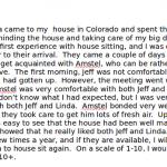 House Sitter Dog Sitter testimonial Lakewood Colorado
