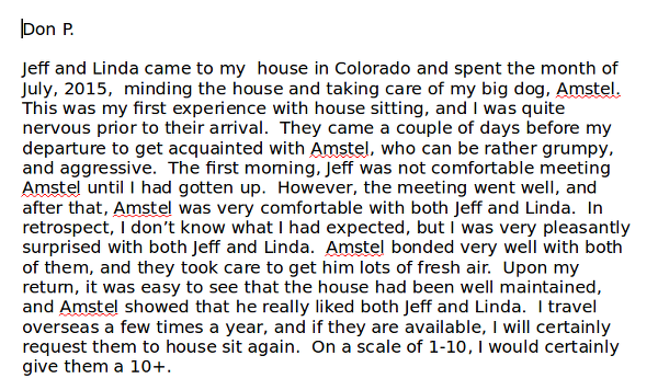 House Sitter Dog Sitter testimonial Lakewood Colorado