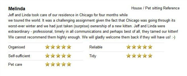 Housesitter and petsitter reference for Chicago cat sit