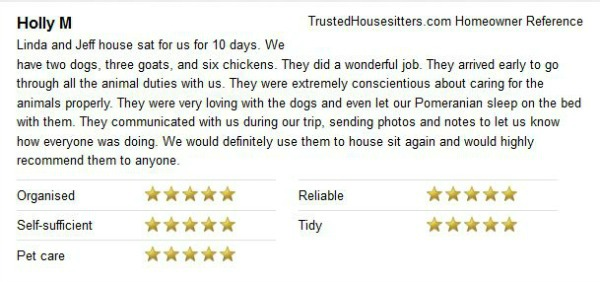 Housesitter and petsitter reference for our stay in Auburn, dogs, chickens and goats!