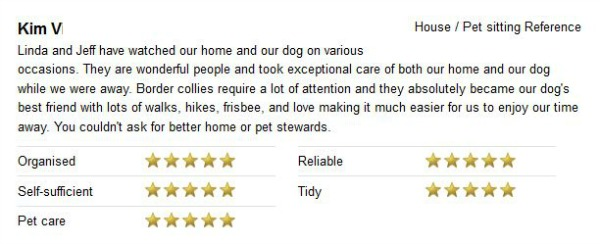 Housesitter and petsitter reference from our ex-neighbor in Golden, CO